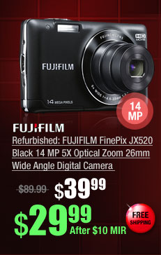 Refurbished: FUJIFILM FinePix JX520 Black 14 MP 5X Optical Zoom 26mm Wide Angle Digital Camera