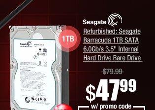 "Refurbished: Seagate Barracuda 1TB SATA 6.0Gb/s 3.5"" Internal Hard Drive Bare Drive"