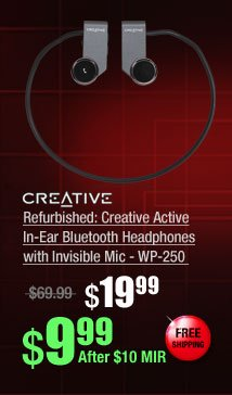 Refurbished: Creative Active In-Ear Bluetooth Headphones with Invisible Mic - WP-250