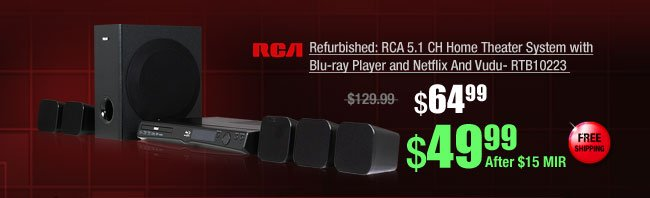 Refurbished: RCA 5.1 CH Home Theater System with Blu-ray Player and Netflix And Vudu- RTB10223