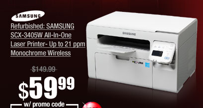 Refurbished: SAMSUNG SCX-3405W All-In-One Laser Printer- Up to 21 ppm Monochrome Wireless