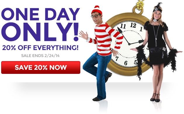 One Day Only, 20% Off Everything