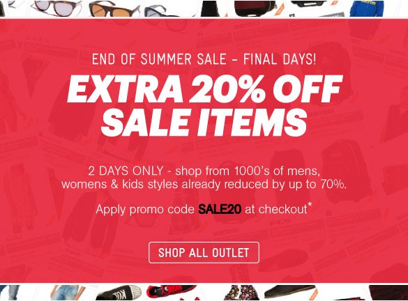 Extra 20% Off Sale Items: 2 Days Only - Shop Now