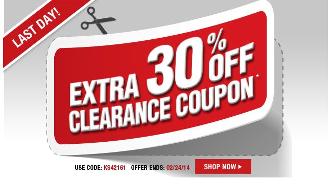 last day - extra 30 percent off clearance coupon* use code: KS42161 offer ends: 2/24/14 - shop now