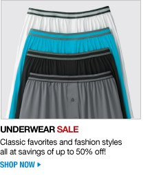 underwear sale - classic favorites and fashion styles all at savings of up to 50 percent off - shop now