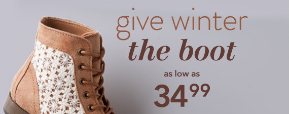 Give winter the boot! Women's boots as low as $34.99.
