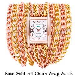 Rose Gold All Chain Wrap Watch