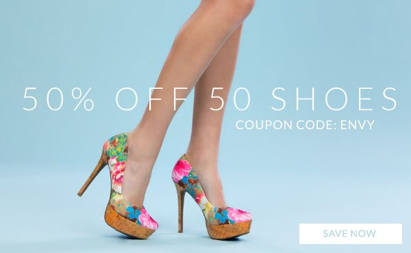 Save 50% Off 50 Shoes with Coupon Code ENVY