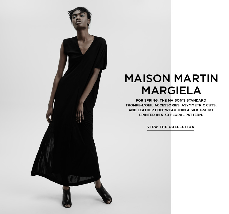 3D prints from Maison Martin Margiela For Spring, the Maison's standard trompe-l'oeil accessories, asymmetric cuts, and leather footwear join a silk t-shirt printed in a 3D floral pattern.