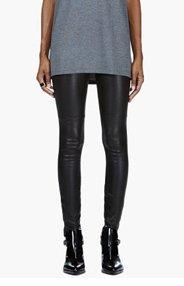 MAISON MARTIN MARGIELA Black Stretch Leather Panelled Leggings for women