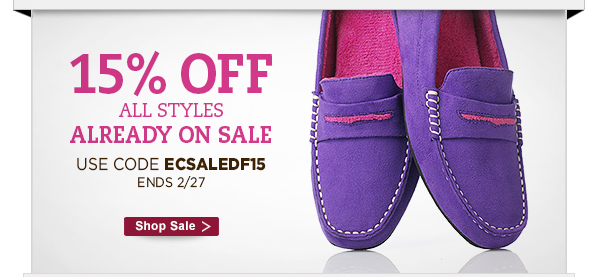 15% off styles already on sale