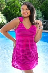 Women's Plus Size Cover Ups - Always For Me Cover Burnout Stripe Cover Up