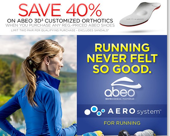 NEW Feature of the Week! Shop the new ABEO AEROsystem running shoes featuring an innovative air-flow energy return outsole and save 40% on customized 3D3 orthotics with any ABEO shoe purchase!* Shop now to find the best selection online and in stores at The Walking Company.