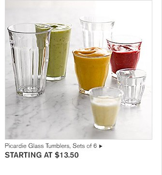 Picardie Glass Tumblers, Sets of 6 - STARTING AT $13.50