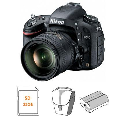 Adorama - Nikon D610 DSLR Camera with 24-85mm VR Lens - BUNDLE - with 32GB Class 10 SDHC Card, Camera Case, and Spare Lithium Battery