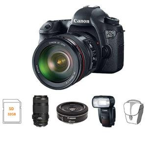 Adorama - Canon EOS-6D DSLR Camera 3 Lens Kit with EF 24-105mm f/4L IS USM Lens, EF 70-300mm f/4-5.6 IS USM Lens, and EF 40mm f/2.8 STM Pancake Lens - Bundle - with Canon Speedlite 600EX-RT Flash, 32GB Class 10 SDHC Card, and Camera Bag