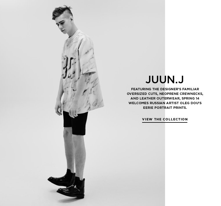 JUUN.J brings Oleg Dou's portraits to life Featuring the designer's familiar oversized cuts, neoprene crewnecks, and leather outerwear, Spring 14 welcomes Russian artist Oleg Dou's eerie portrait prints.