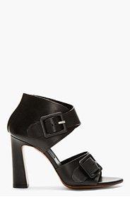 PROENZA SCHOULER Black Leather Open-Toe Buckle Heels for women
