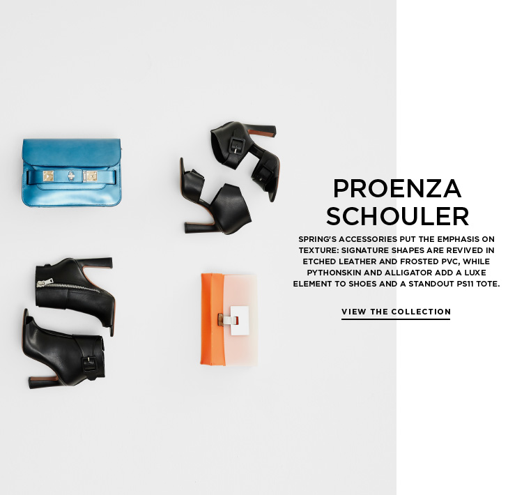 Textural accessories from Proenza Schouler Spring's accessories put the emphasis on texture: signature shapes are revived in etched leather and frosted PVC, while pythonskin and alligator add a luxe element to shoes and a standout PS11 tote.