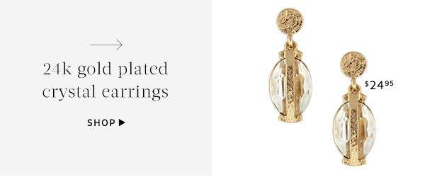 24k gold plated crystal earrings. Shop Earrings