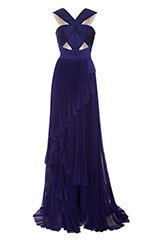 Halter Neck Gown with Cut Out Bodice