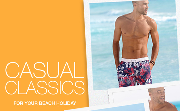 NEW IN. Look - we've just stocked up on our Mens range of swimwear and holiday fashion.