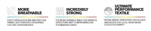 MORE BREATHABLE - INCREDIBLY STRONG - ULTIMATE PERFORMANCE TEXTILE