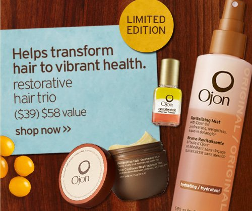 LIMITED EDITION Helps transform hair to vibrant health restorative  hair trio 39 dollars 58 dollars value shop now