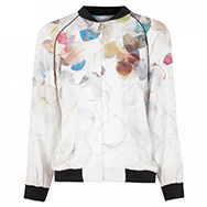 STILLS - Watercolour petal print silk satin bomber jacket