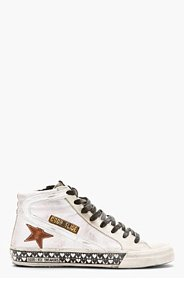 GOLDEN GOOSE White Distressed heart print Slide Sneakers for men
