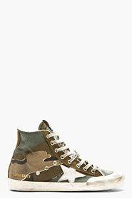 GOLDEN GOOSE Green camouflage FRANCY High-top sneakers for men