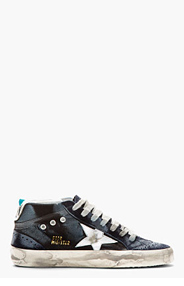 GOLDEN GOOSE Navy Suede Distressed Superstar Sneakers for men