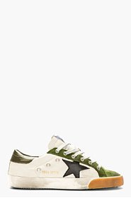 GOLDEN GOOSE Green & Grey Leather Superstar Sneakers for men