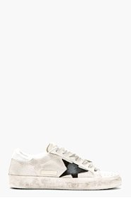 GOLDEN GOOSE Off-white Distressed Grey Cord Superstar SNeakers for men