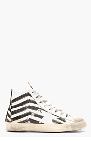 GOLDEN GOOSE White Distressed Marker Stripe High-Top Sneakers for men