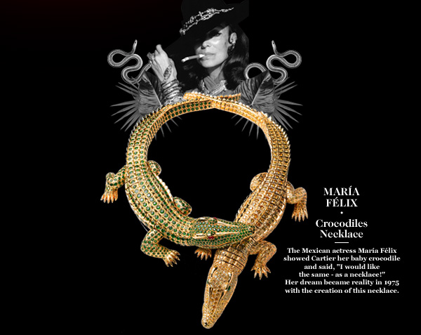 "MARÍA FÉLIX - Crocodiles Necklace - The Mexican actress María Félix showed Cartier her baby crocodile and said, ""I would like the same - as a necklace!"" - Her dream became reality in 1975 with the creation of this necklace."