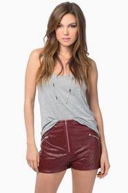 Quilted Zip High Waist Shorts 37