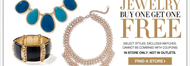 All Jewery is B1G1 Free in stores only!