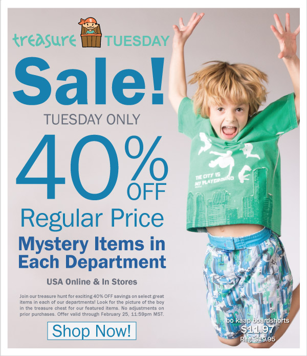 Treasure Tuesday! 40% Off Selected Spring 2 Fashions & Our Most Requested Spring 1 Dress + Earn Kids Kash Coupons