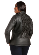 Crochet Back Faux Leather Jacket