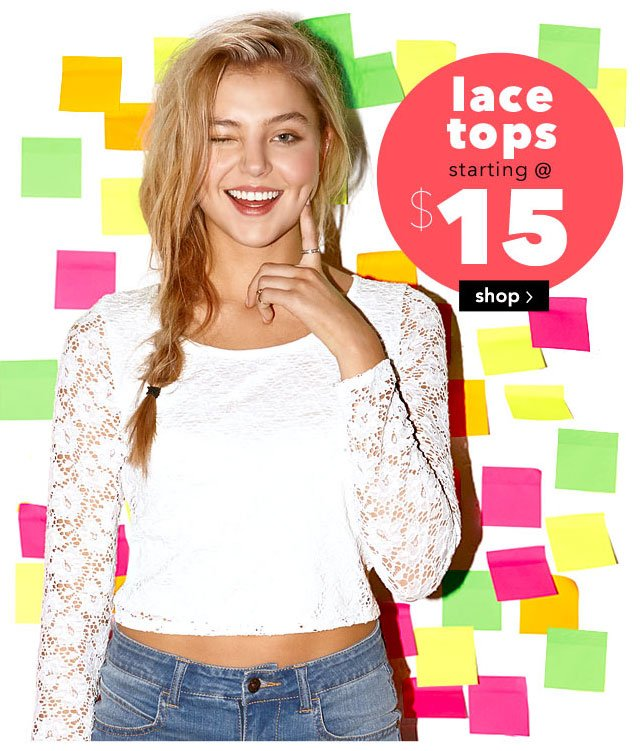 lace tops starting at $15