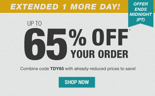 Up to 65% off your order with code TDY65