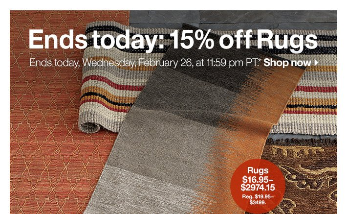 Ends today: 15% off Rugs