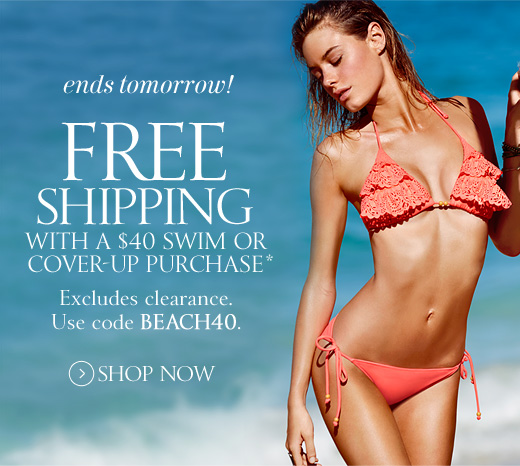 Ends Tomorrow! Free Shipping With A $40 Swim Or Cover-Up Purchase