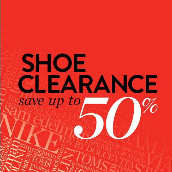 SHOE CLEARANCE - save up to 50%