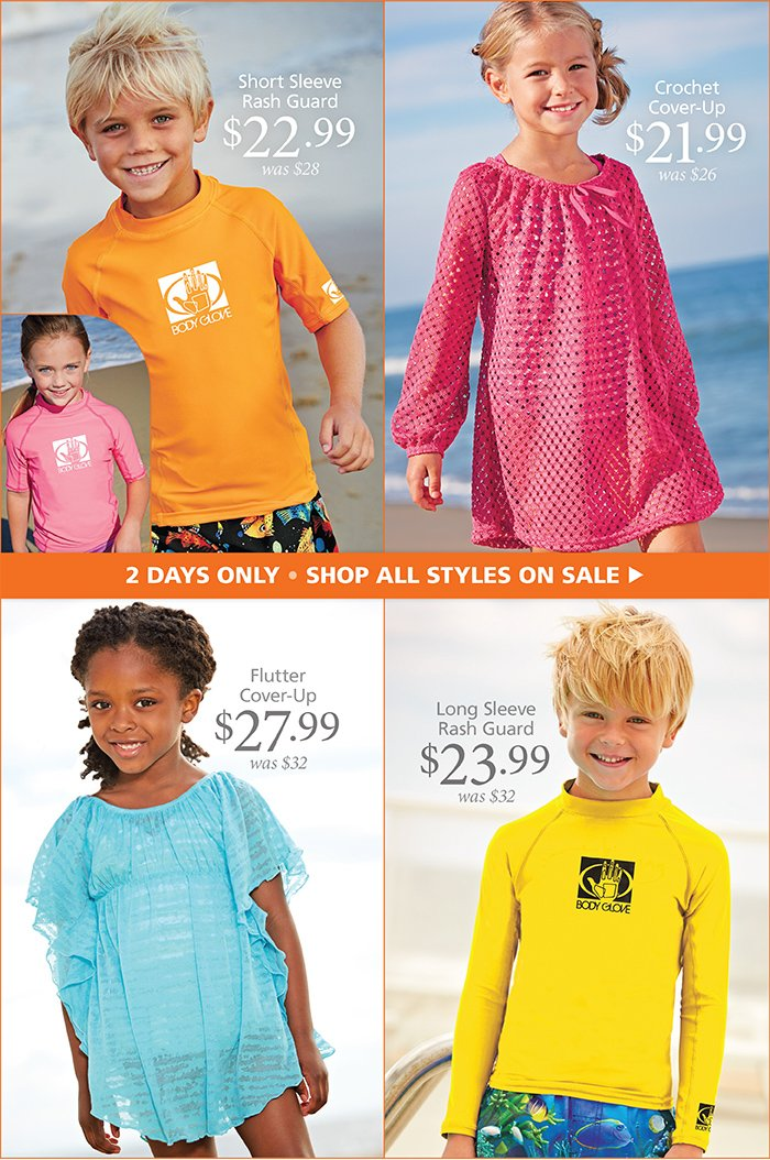 Rash Guards and Cover Ups Now on Sale, 2 Days Only