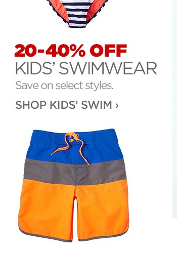 20-40% OFF KIDS' SWIMWEAR     			Save on select styles.     			SHOP KIDS' SWIM ›