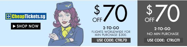 Get up $70 off cheaptickets.sg