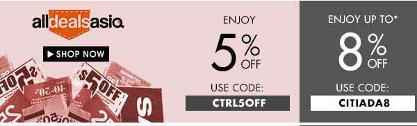 Enjoy up to 8% off All Deals Asia