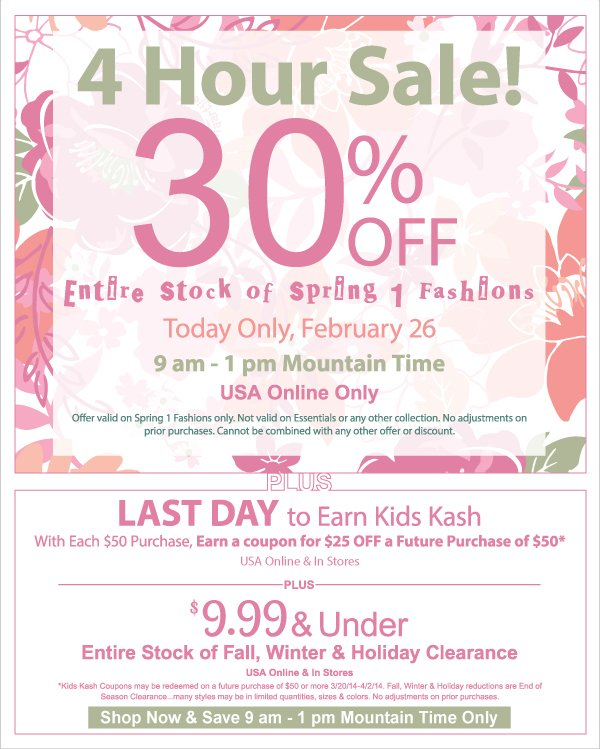 Last Day to Earn Kids Kash Coupons + $9.99 & Under All Fall, Winter & Holiday Clearance